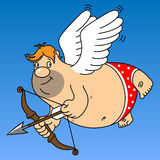 Fat cupid. In red underpants holding a bow and arrow Stock Images