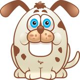 Fat Dog. A fat white dog with spots smiling Royalty Free Stock Photo
