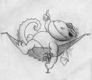 Fat dragon on vacation. Hand drawn pencil sketch of a fat dragon on vacation. This fantasy creature is resting in a hammock, wearing sunglasses, holds cocktail Stock Photo