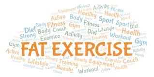 Fat Exercise word cloud. Wordcloud made with text only vector illustration