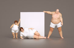 Fat family with empty sign Stock Image