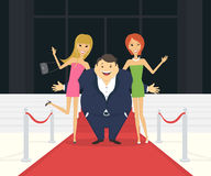 Fat famous man with his thin girlfriends on the Stock Photography