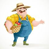 Fat farmer in overalls holding a basket of apples Stock Images