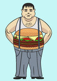 Fat. Fascination with fast food leads to overweight Royalty Free Stock Images