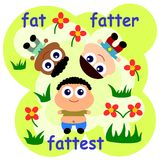 Fat fatter fattest Stock Photos