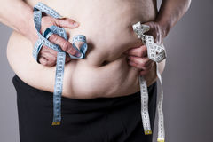 Fat female body with measuring tape Stock Image