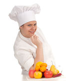 Fat female cook with fruits Stock Images