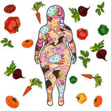 Fat female silhouette with sweets. Vector Stock Photography
