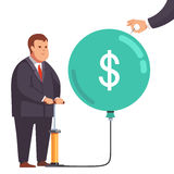 Fat financial businessman with market bubble. Big fat corporation or financial power depicted as obese business man inflating a market bubble with dollar sign Royalty Free Stock Photo