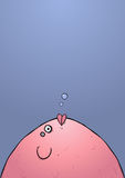 Fat Fish Blowing Bubble Cartoon Character Illustration Stock Photography