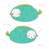 Fat fish in colour. Hand drawn vector illustration of two roundish funny fat fish with cute faces swimming under water. Isolated objects on white background Royalty Free Stock Photo