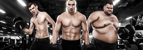 Fat, fit and athletic men. Ectomorph, mesomorph and endomorph . Before and after result. Group of three young sports men. Ectomorph, mesomorph and endomorph royalty free stock photos