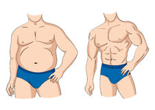Fat And Fit. Illustration of a fat and muscular man figure Stock Photos