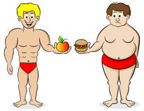 Fat and a fit man and their diet. Vector illustration of a fat and a fit man and their diet Royalty Free Stock Photography