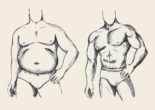 Fat And Fit. Sketch illustration of a fat and muscular man figure Stock Photo