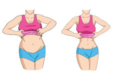 Fat And Fit. Sketch illustration of a fat and slim woman figure Royalty Free Stock Photo