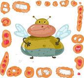 Fat fly and set of pies and buns Stock Image