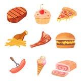 Fat food vector icon illustration. cartoon collection of bad food. Fat food vector icon illustration Stock Photography