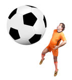 Fat footbal player with large ball. Recreational fat footballer play with large ball isolated on a white background Royalty Free Stock Photography