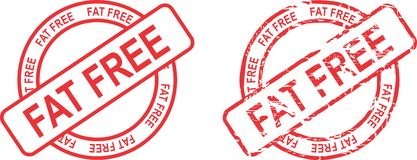 Fat free circle red stamp sticker Stock Images