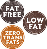 Fat Free and Trans Fats Stamps Stock Images