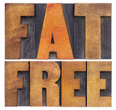 Fat  free words in wood type Royalty Free Stock Photo