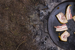 Fat fried bacon on the big black pan - perfect forester`s dinner Stock Image