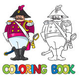 Fat general or officer. Coloring book Royalty Free Stock Images