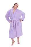 Fat girl on bathrobe Royalty Free Stock Photography