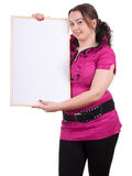 Fat girl with blank sign Stock Image