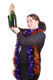 Fat girl with bottle of champagne Stock Images