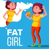 Fat Girl Eating A Hamburger And Dreaming To Be Fitness Vector. Isolated Illustration royalty free illustration