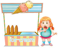 A fat girl eating an ice cream beside the ice cream stand Royalty Free Stock Photo