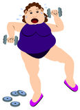 Fat girl exercise. A fat lady having a work out with her dumbbells Stock Images