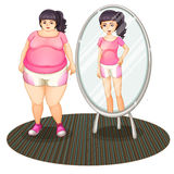 A fat girl and her slim version in the mirror Stock Photo