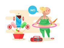 Fat girl with a hoop. Exercise sport gymnastic fitness, woman aerobic, vector illustration Stock Images