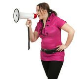 Fat girl with megaphone Stock Photo