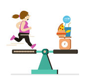 Fat girl running balance with food are over calories. Royalty Free Stock Photography