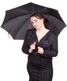 Fat girl with umbrella Stock Photos