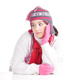 Fat girl in winter hat and mittens Stock Images