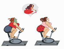 Fat girls are trainin on the bicycle Royalty Free Stock Photography