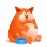 Fat glutton ginger cat with empty bowl on white background Stock Images