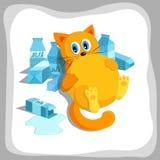 Fat glutton ginger cat drinks milk stock illustration