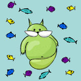 Fat green cat with colorful fishes. Vector hand drawn style  illustration. Fat green cat with colorful fishes Royalty Free Stock Images