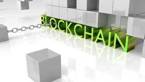 Fat green metallic letters showing the word blockchain surrounde Stock Photography