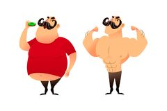 A fat guy and an athlete. Before and after. Doing sports and eating healthy concepts. A man with obesity is eating a Royalty Free Stock Photo