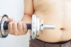 Fat guy begin to loose his weight Royalty Free Stock Images
