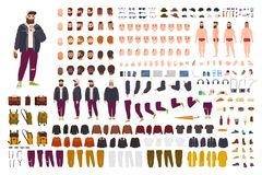Fat guy constructor set or DIY kit. Bundle of flat cartoon character body parts, poses, gestures, clothes isolated on. White background. Front, side, back view stock illustration