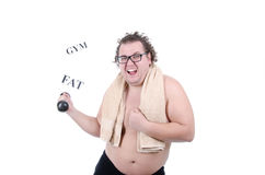 Fat guy in the gym. Fun workout. Funny fat guy with a dumbbell. White background stock image