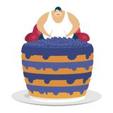 Fat guy is sitting on chair and blueberry cake. Glutton Thick ma Stock Image